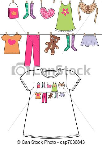 Vectors of pattern for childrens clothes csp7036843.
