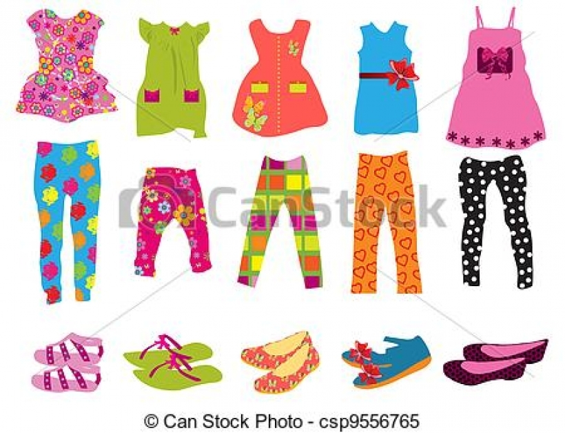 clipart vector of childrens clothes for women csp9556765 search.