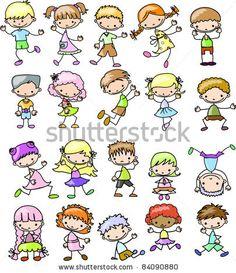 cartoon drawings of children.