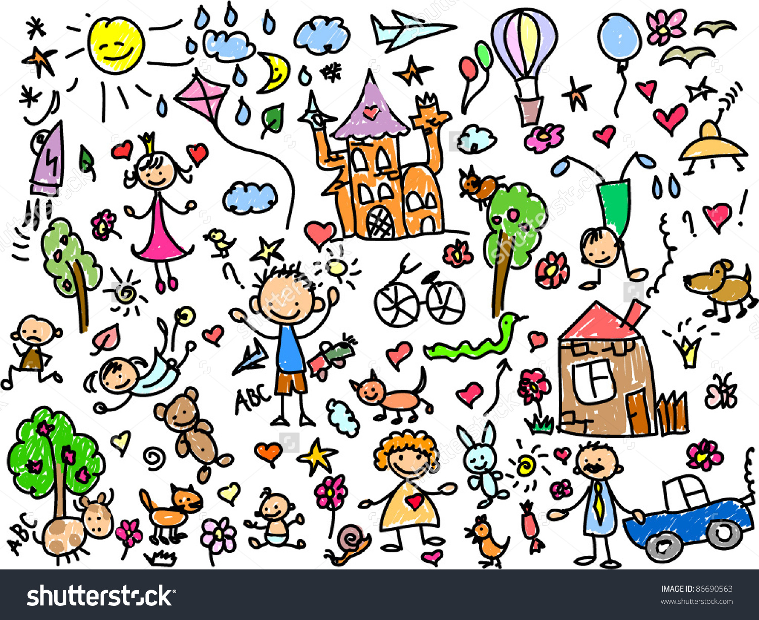 Childrens Drawings Stock Vector 86690563.