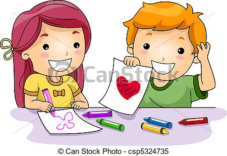 Childrens drawings clip art.
