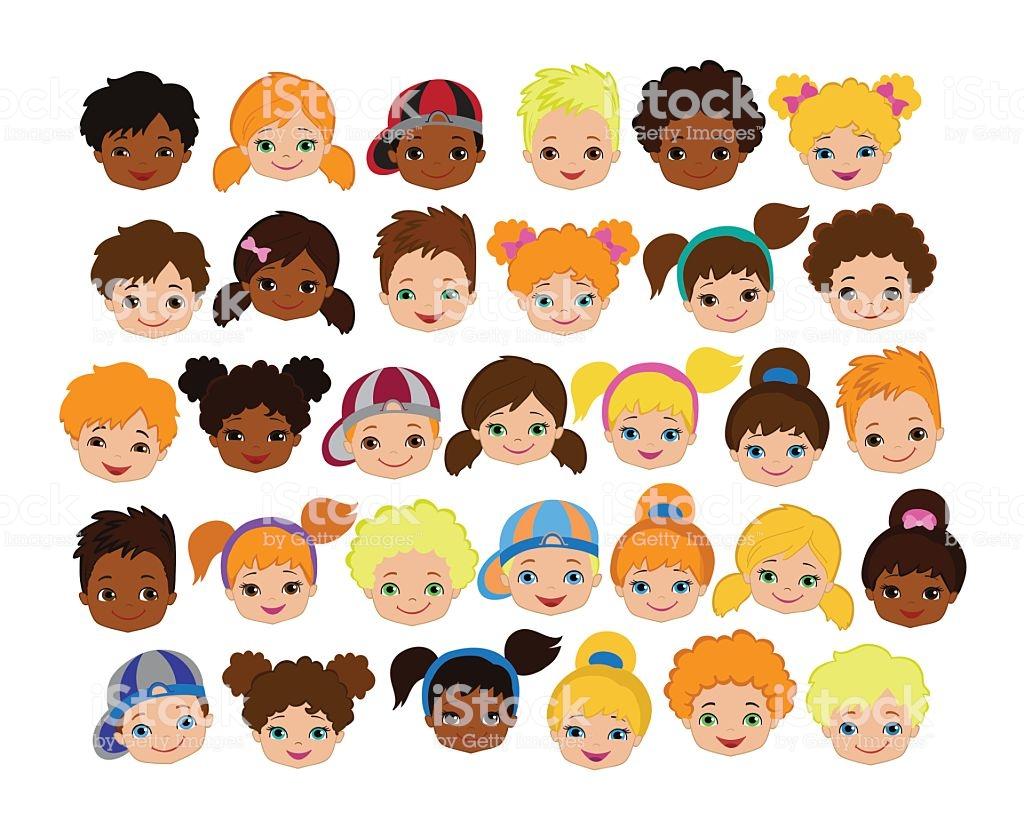 Set Of Cartoon Childrens Faces Cartoon Child Face Icon Stock.
