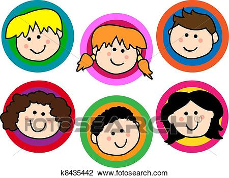 Kids face collection Clipart.