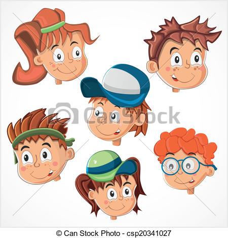 Children's faces vector.