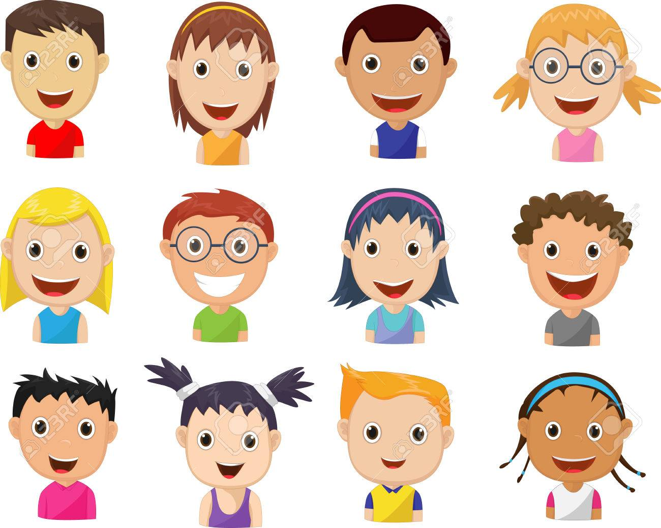 set of cartoon children's faces.