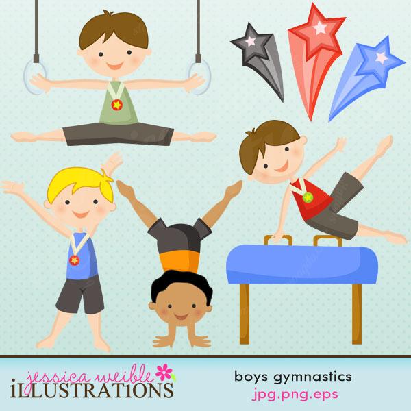 Boys Gymnastics Clip Art.