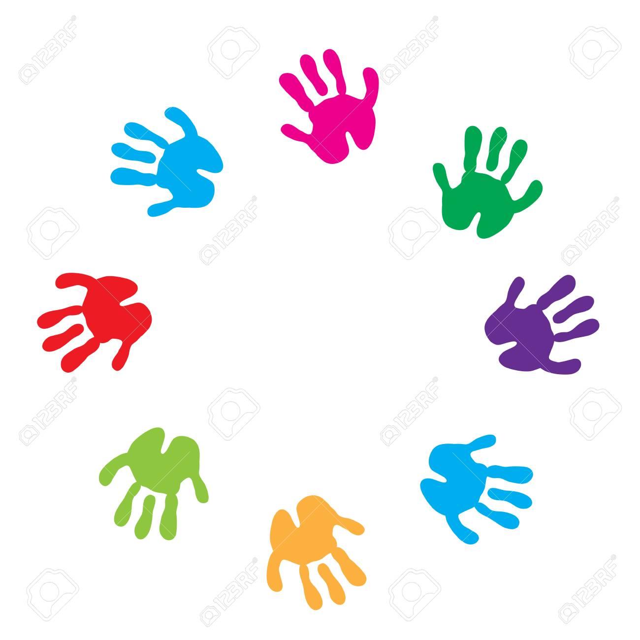 Children hand prints frame. Children's palms on a white background.