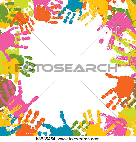 Clip Art of Children's hand prints united in tree k18179087.