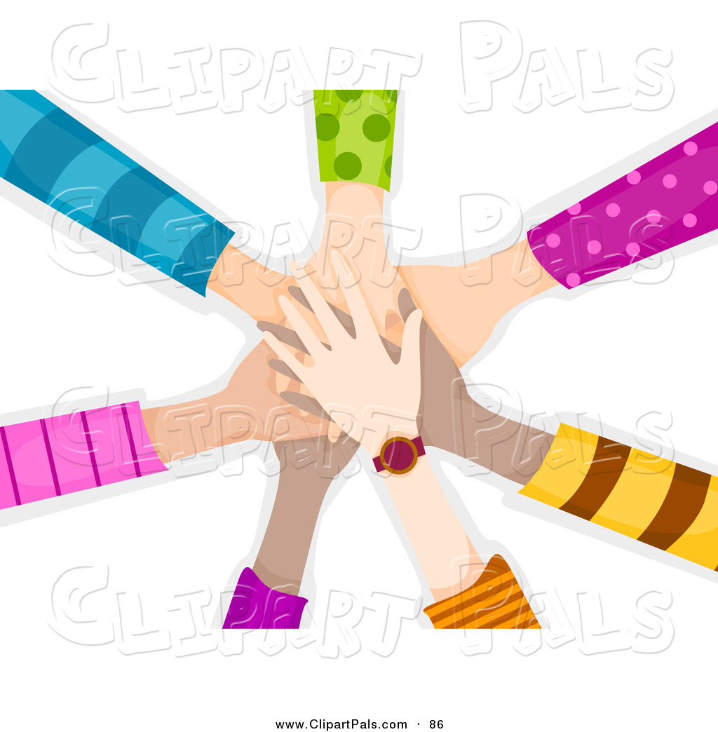 Pal Clipart of a Team of Children's Hands Piled While Making a.