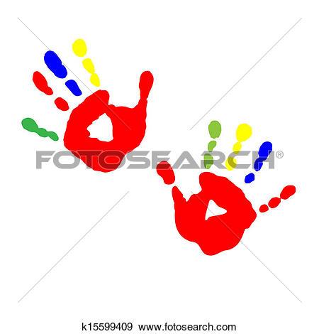Clip Art of Prints of children's hands from paint k15599409.