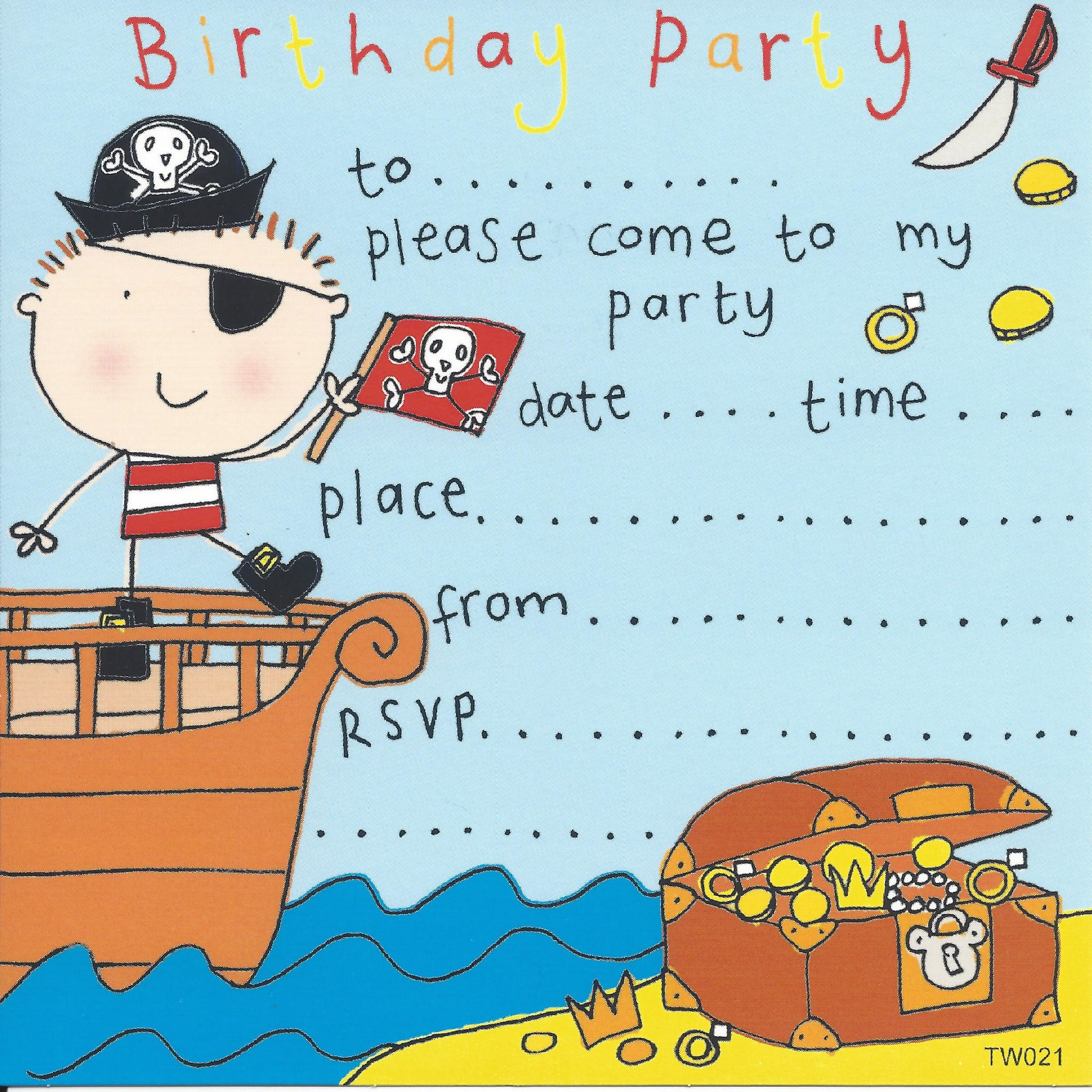 Pirate Children's Party Invitation.