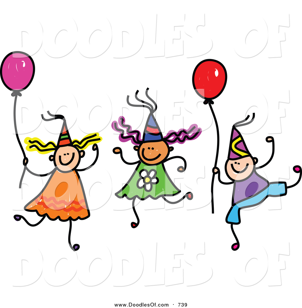 Vector Clipart of a Doodle of Children Wearing Party Hats and.