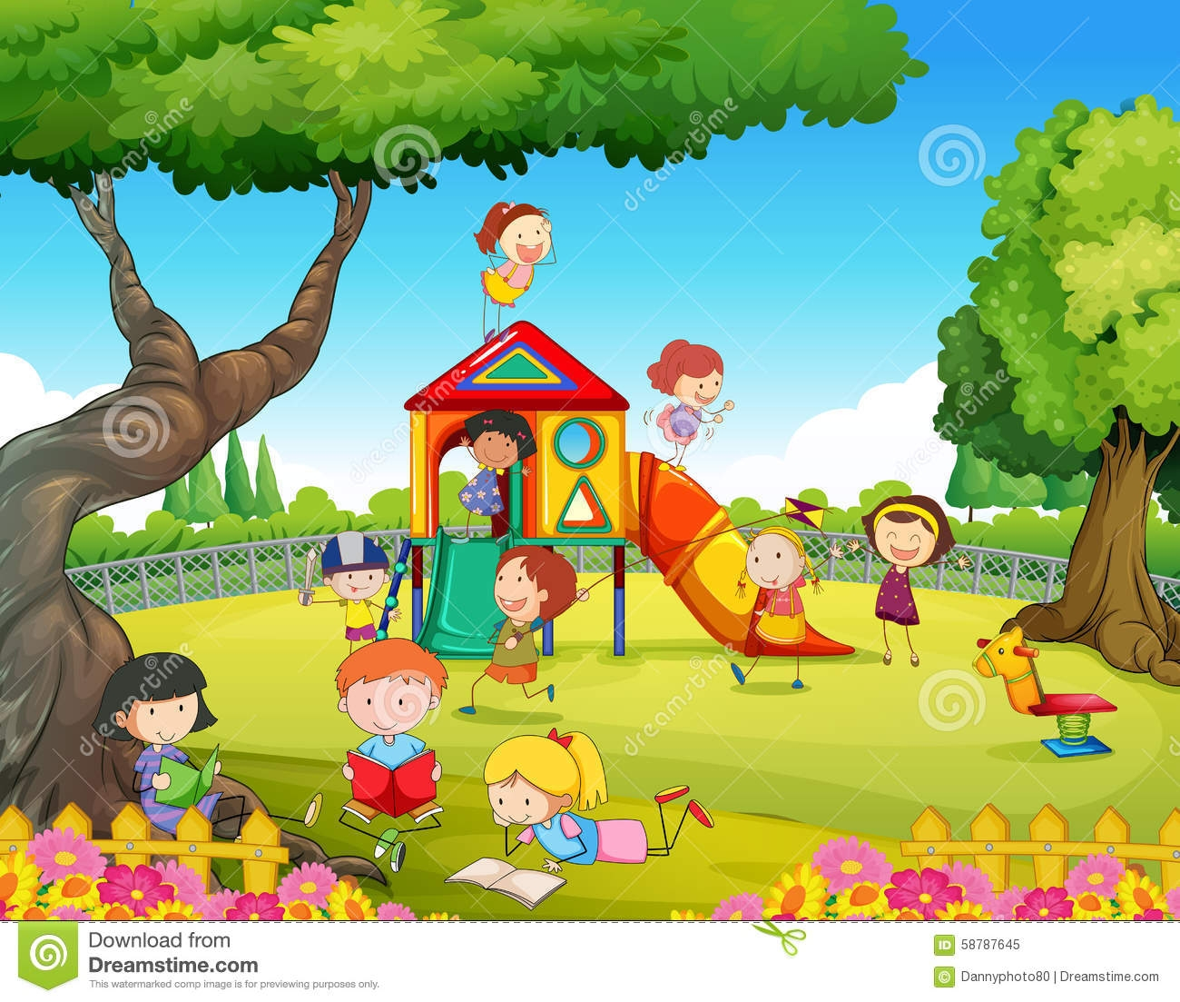 Children playing on playground clipart.
