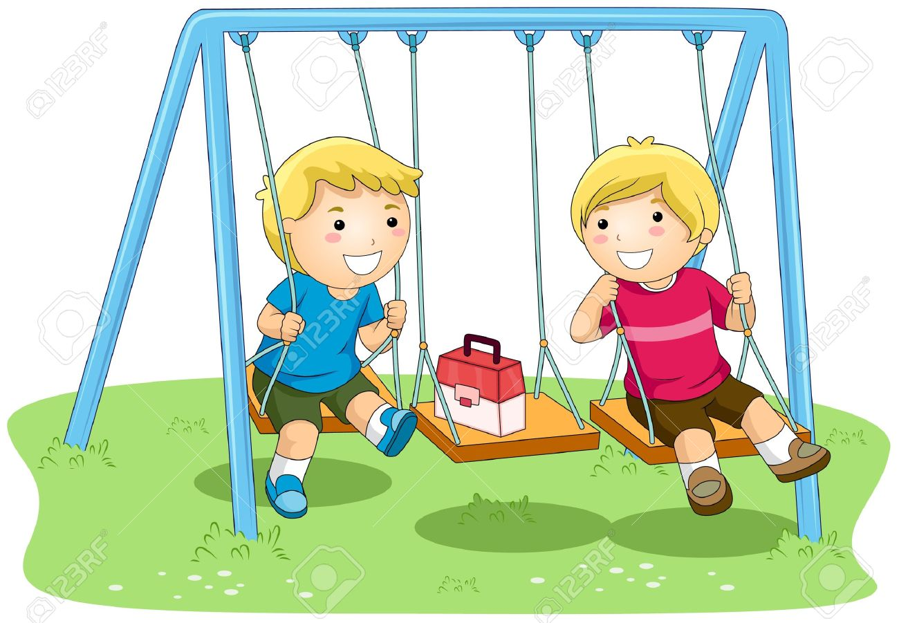 Children playing in park clip art.