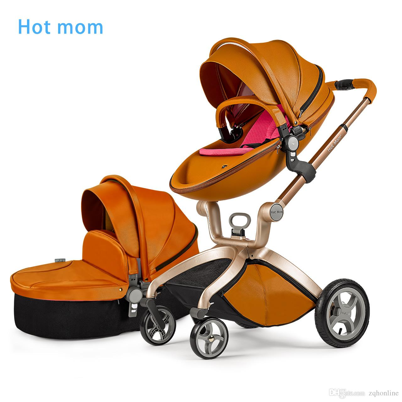 2017 Hotmom Brand Fashion Pu Leather Baby Stroller Pushchair Egg.