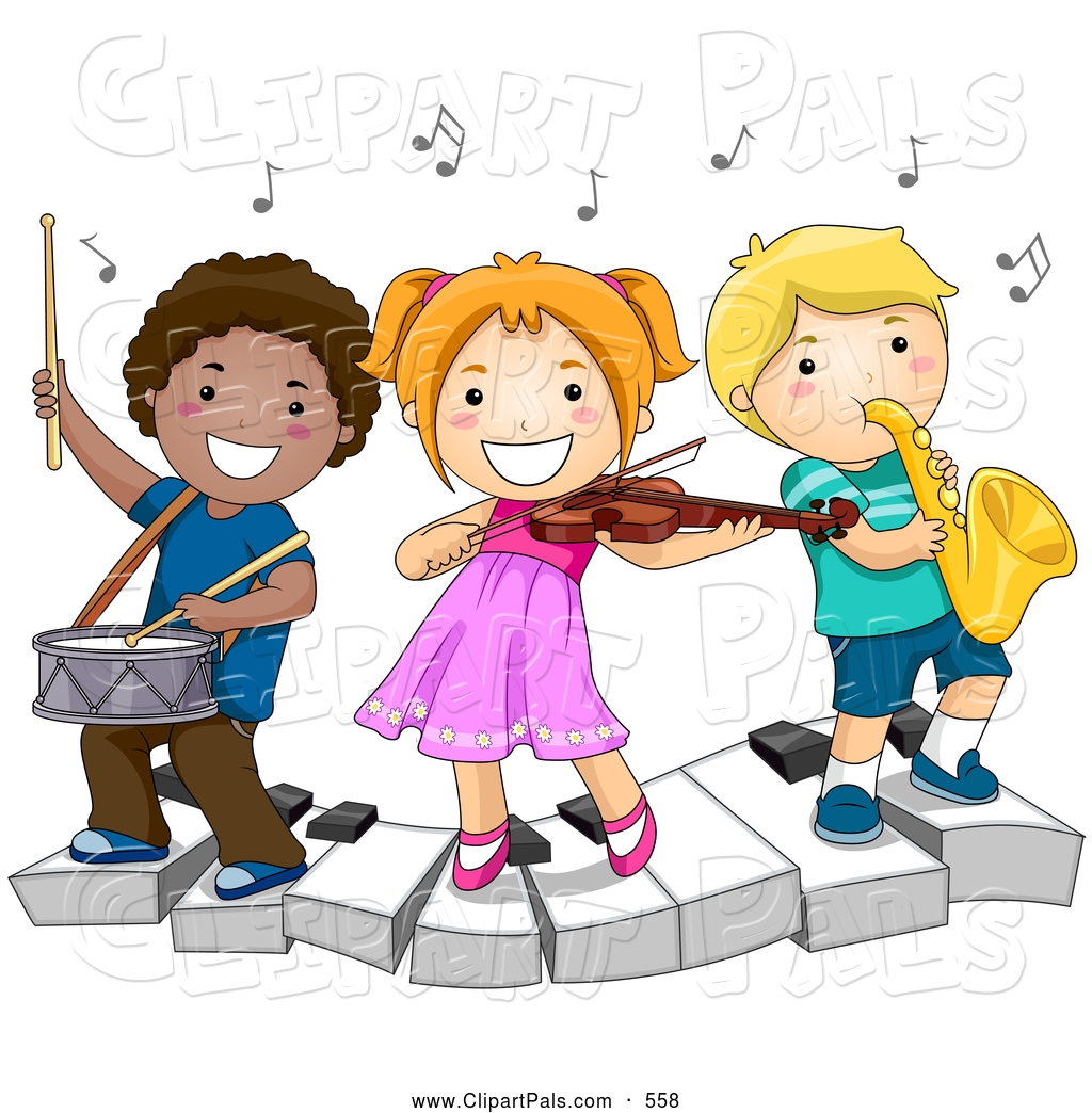 Children and music clipart.