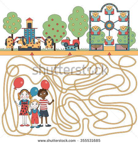 Children'S Game (Maze): Children Ride On The Carousel. Developing.