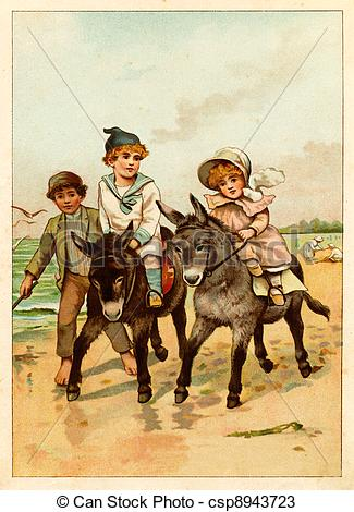 Drawings of Children ride a donkey.