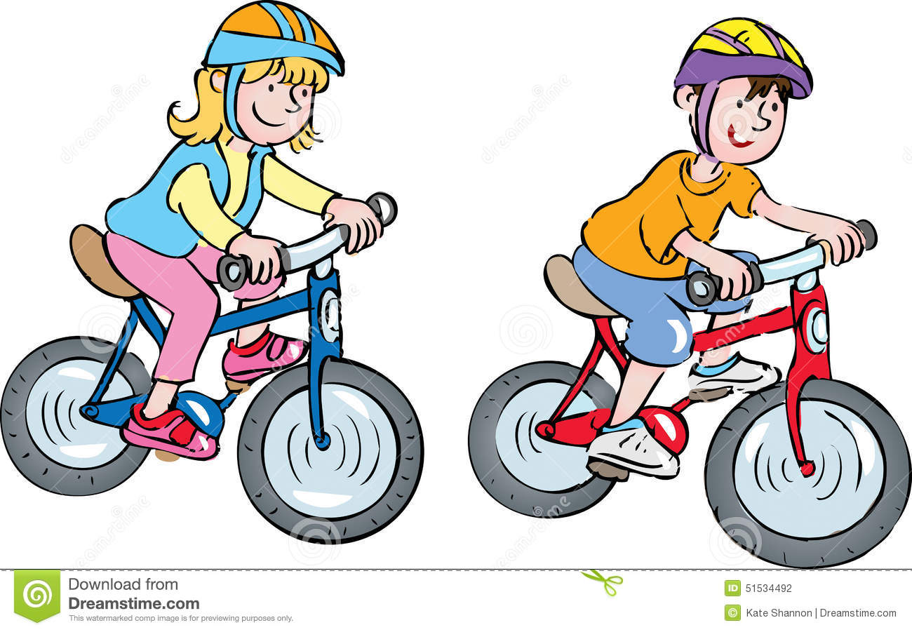 Child on bike clipart.