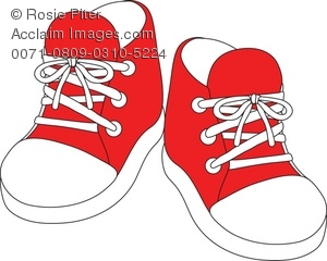 Royalty Free Clipart Illustration of a Pair of Red Baby Sneakers.