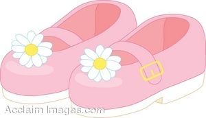 Clipart Illustration of Pink Children's Shoes with Flowers.