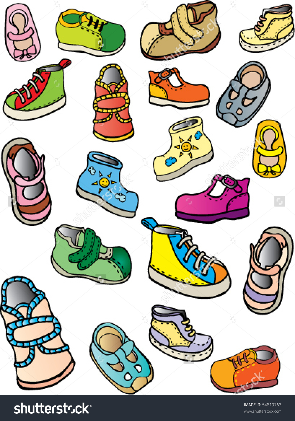 Childrens Shoes Stock Vector 54819763.
