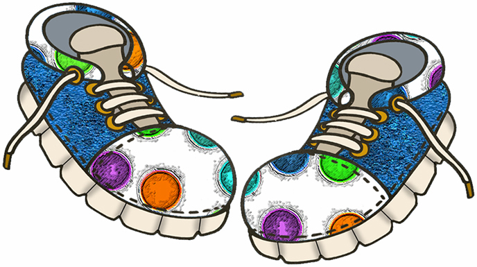 Kids shoes drive circle clipart.