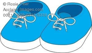 Royalty Free Clipart Illustration of Newborn Baby Shoes.
