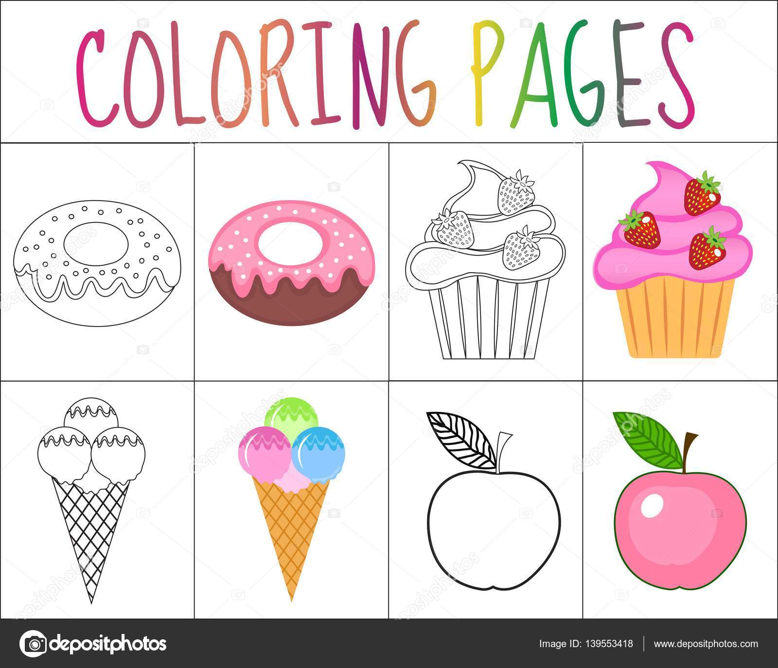 Coloring book page set. Sweets collection. Sketch and color.
