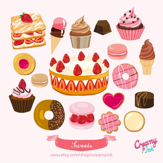 Sweets Digital Vector Clip art/ Cake Digital Clipart Design.