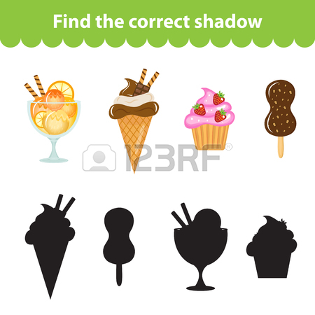 Children's Educational Game, Find Correct Shadow Silhouette.