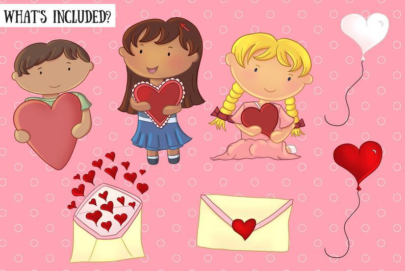 Valentine's Day Kids Clip Art.