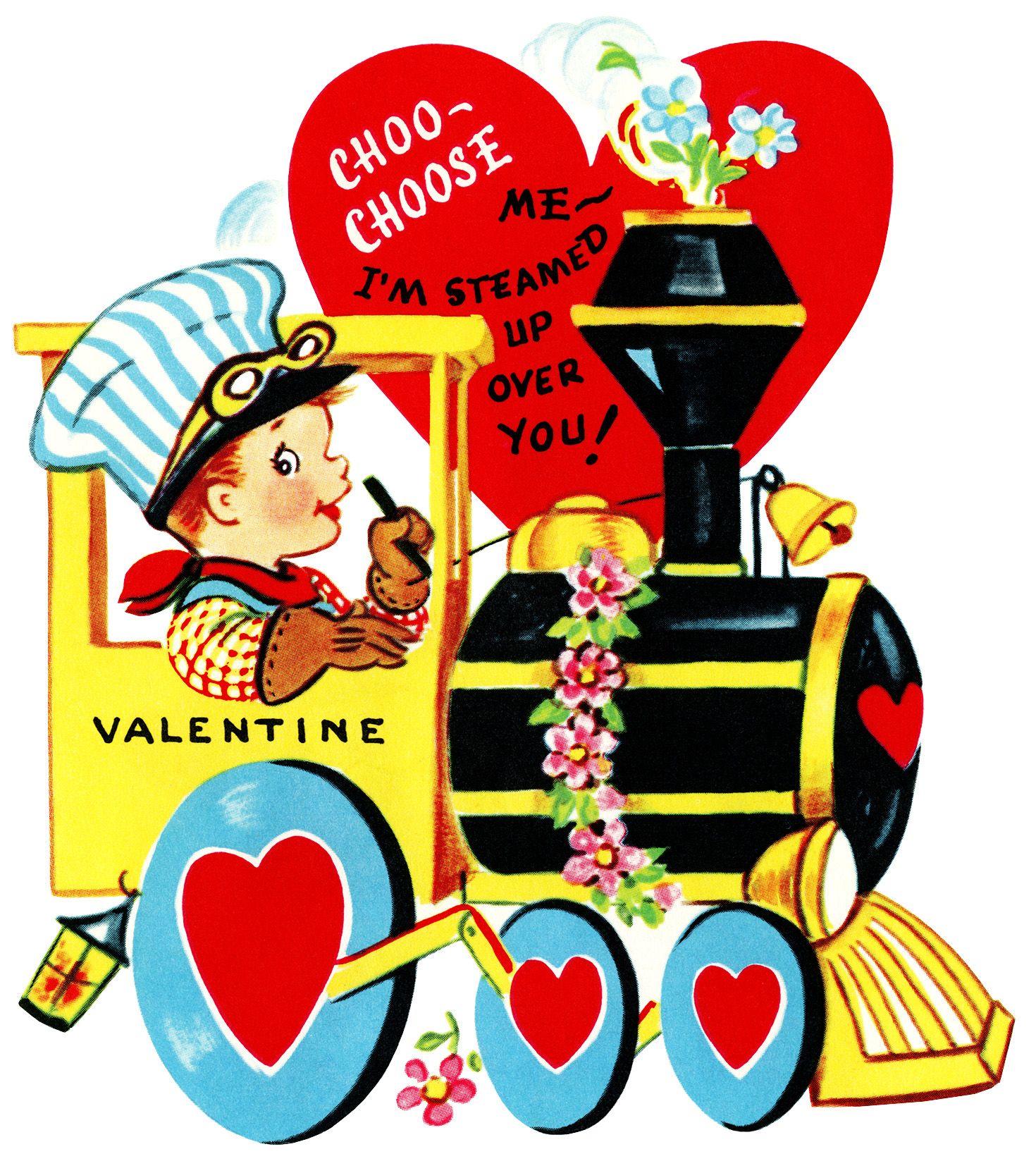 train valentine, vintage valentine clip art, boy engineer driving.