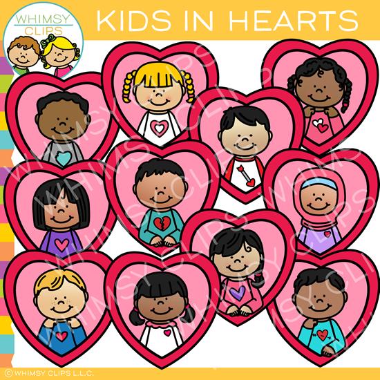 Kids in Hearts Valentine Clip Art.