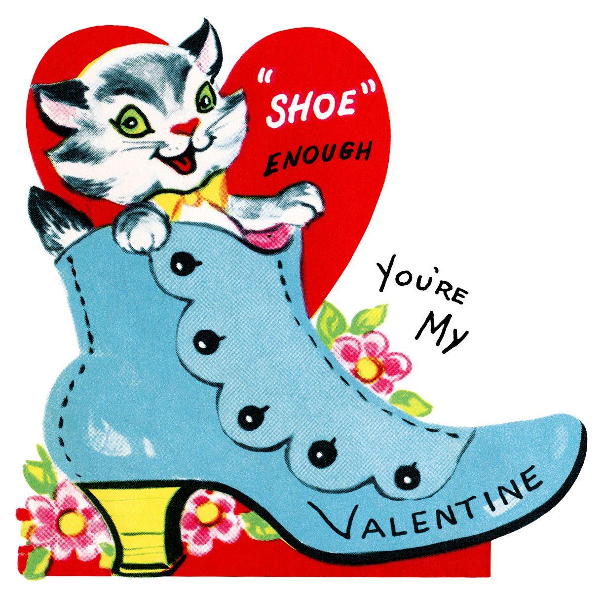 kitten in shoe valentine, vintage valentine clip art, retro.