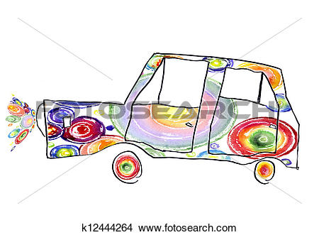 Drawings of children's drawing of the car k12444264.