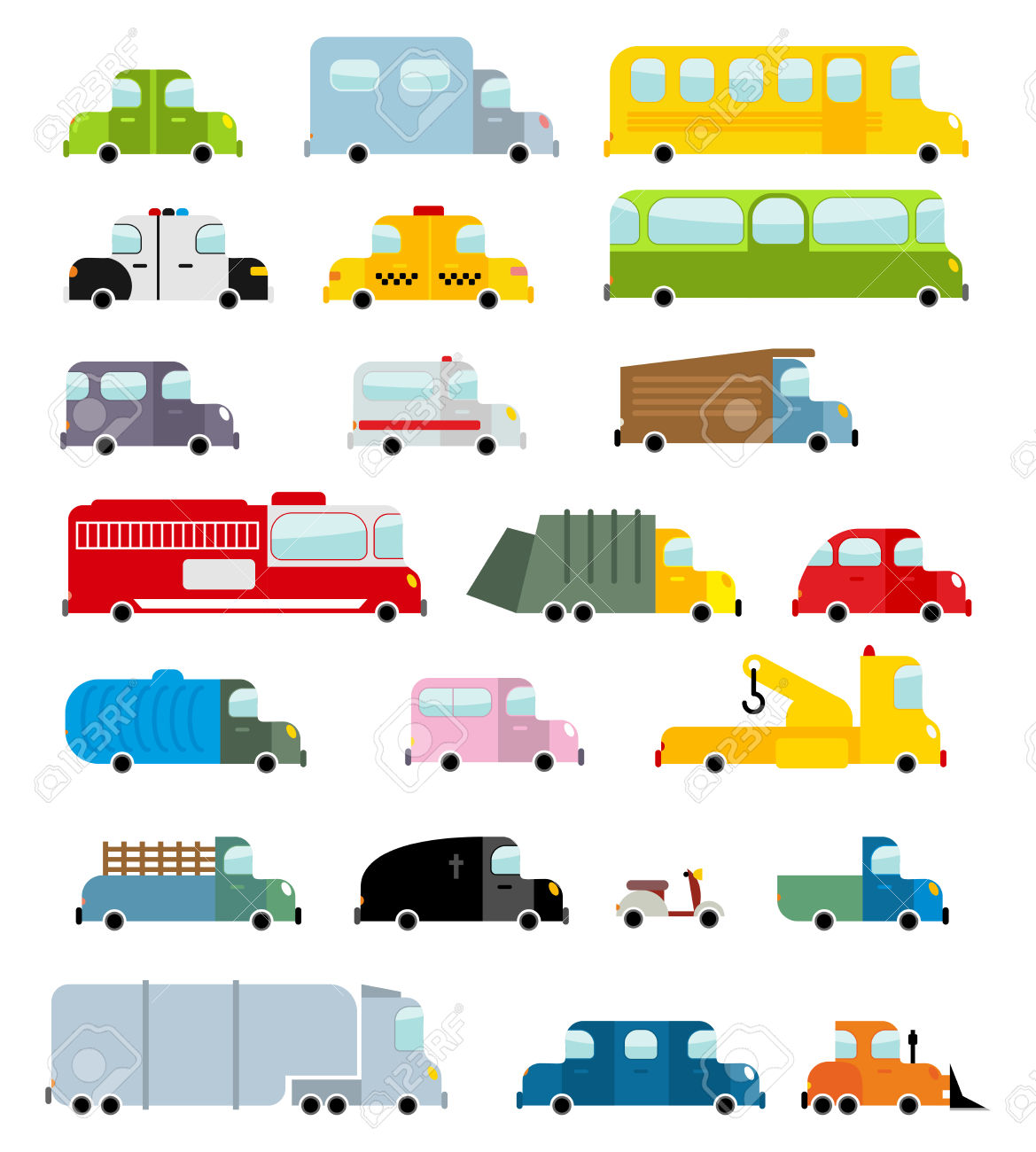 Car Set Cartoon Style. Big Transport Icons Collection. Ground.