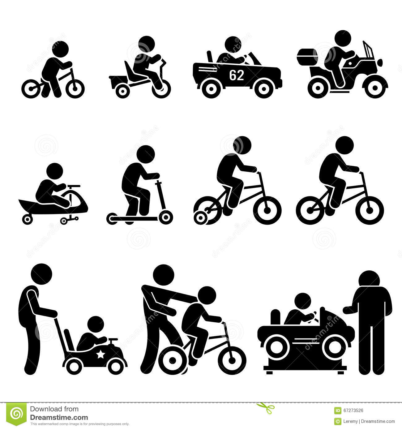 Children's Tricycle Stock Illustrations.