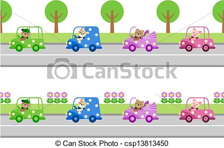 Clipart Vector of animals traveling in cars.