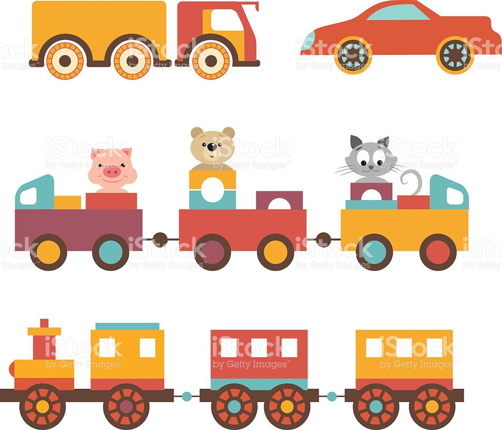 Vector Set Clip Art Construction Machinery Of Childrens Toys stock.