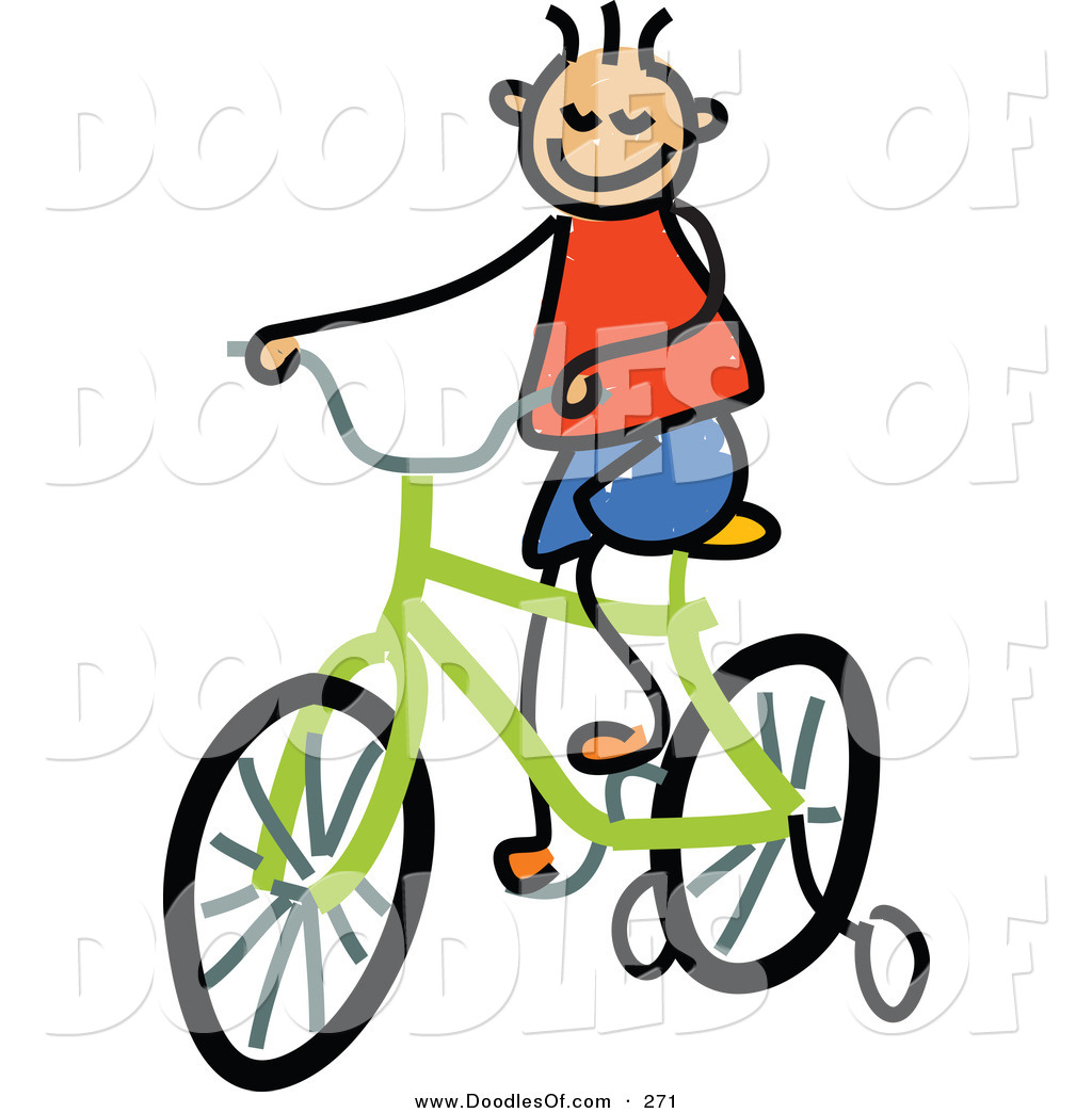 Vector Clipart of a Childs Sketch of a Happy Boy Riding a Bike by.