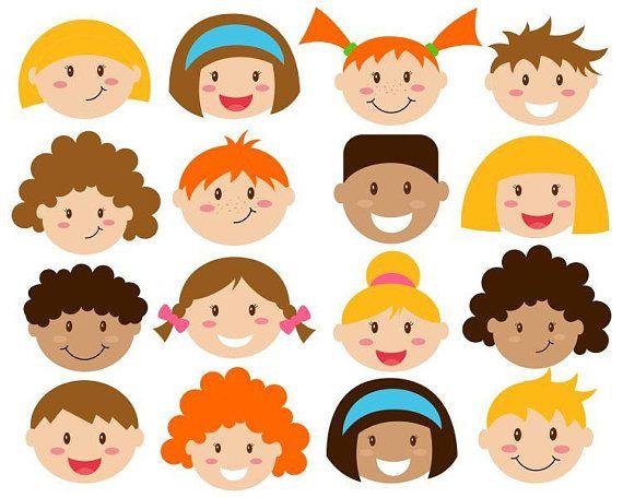 Kids Faces Digital Clipart Cute Clip Art Children Head Astonishing.
