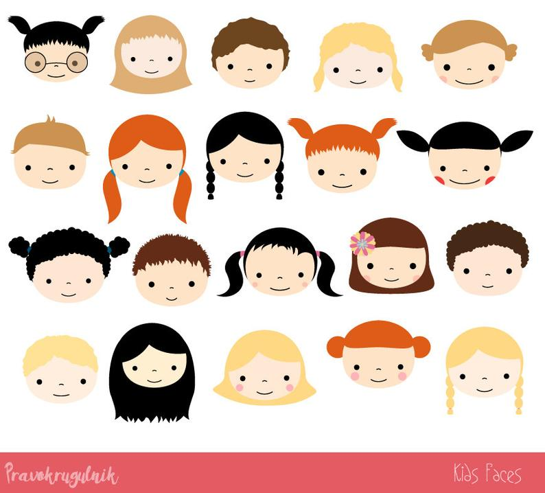 Cute kid faces clipart set, Children clipart head, Kawaii boy and girl clip  art commercial use, Kids clip art, Teacher resources school.