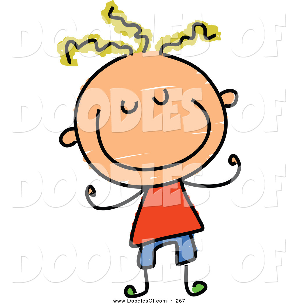 Vector Clipart of a Childs Sketch of a Smiling Boy with Blond Hair.