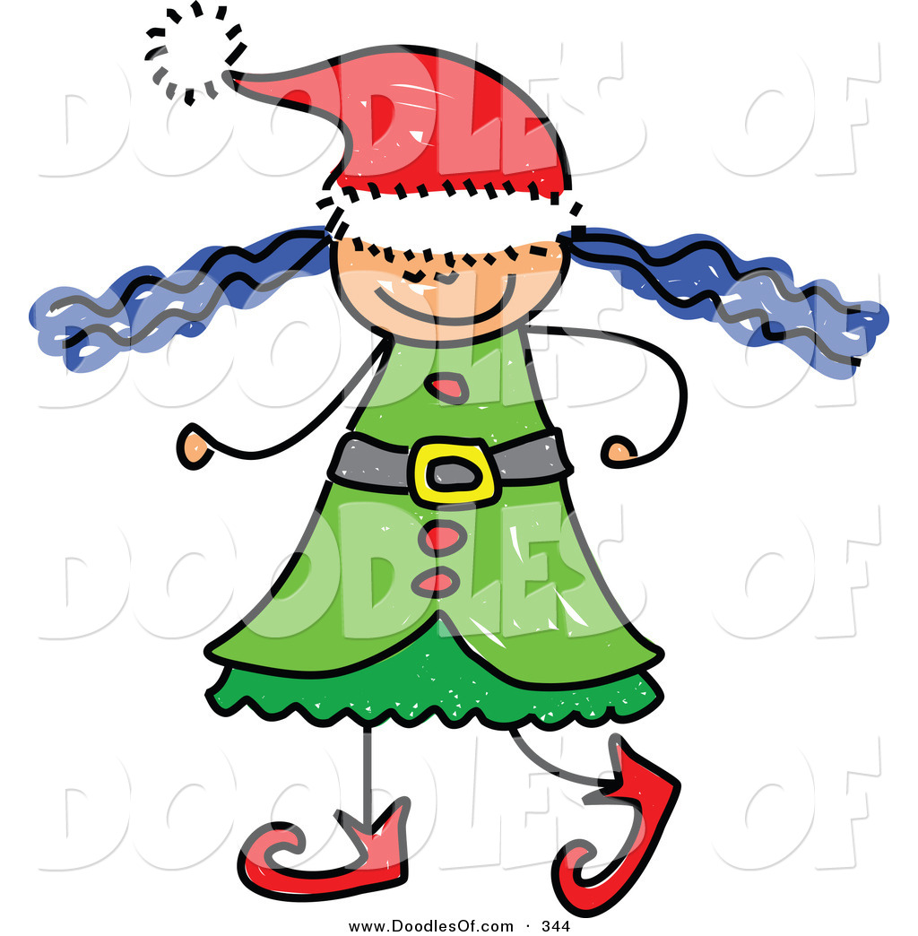 Vector Clipart of a Childs Sketch of a Christmas Elf Girl with.