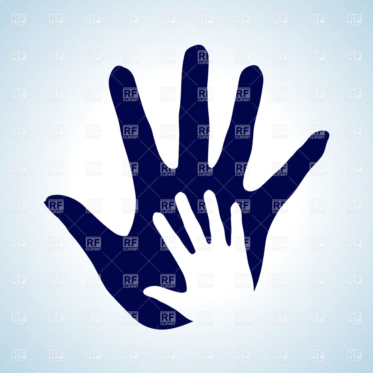 Child's hand in parent's hand Vector Image #30434.