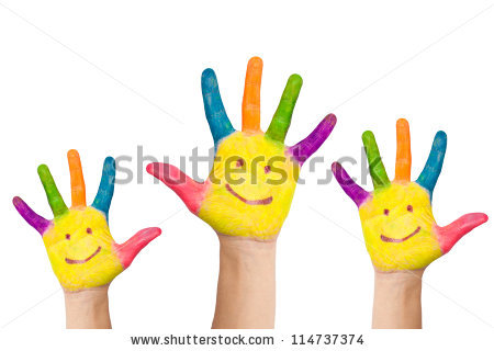 Kids Painted Hands Stock Photos, Royalty.