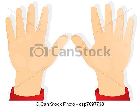 Vector of children's hands, palms forward.