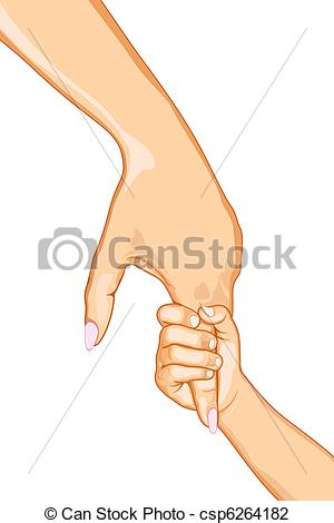 Mother child holding hands clipart.