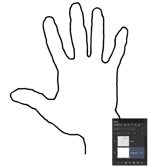 Hand outline printable.